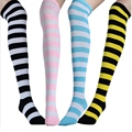 6 Colours Classic Vogue Women Sock Thigh High Striped Over the Knee Socks Cotton Stockings