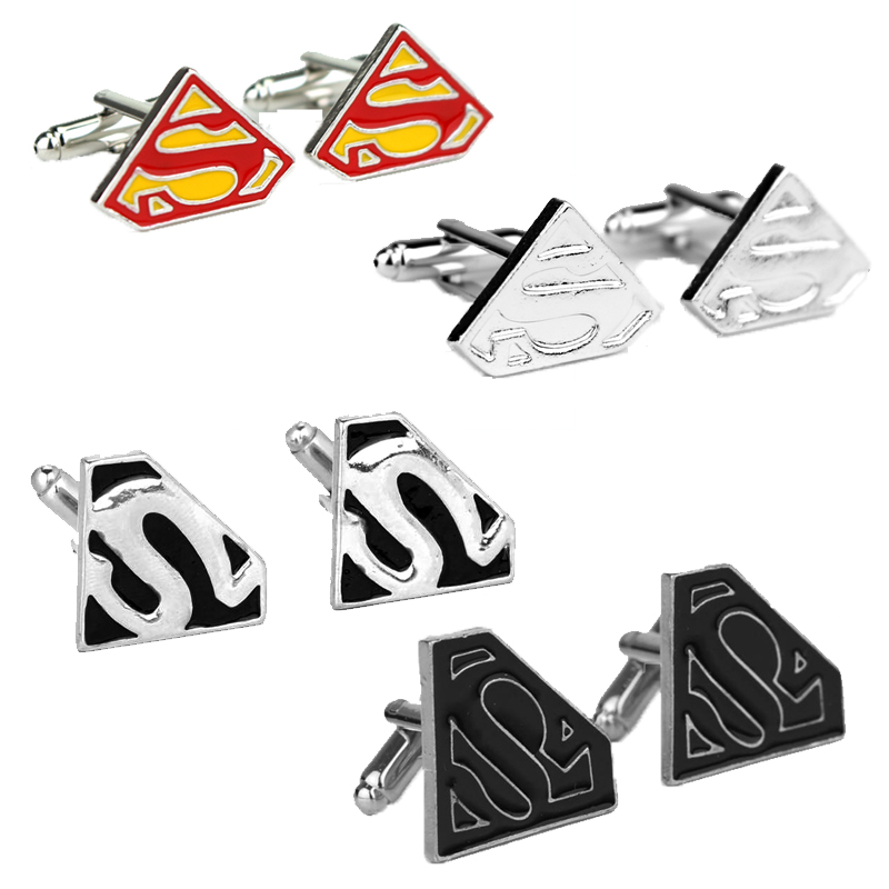 Justice League Superhero Superman S Logo Metal Fashion Cufflinks Tie Clips Cuff Bottons
