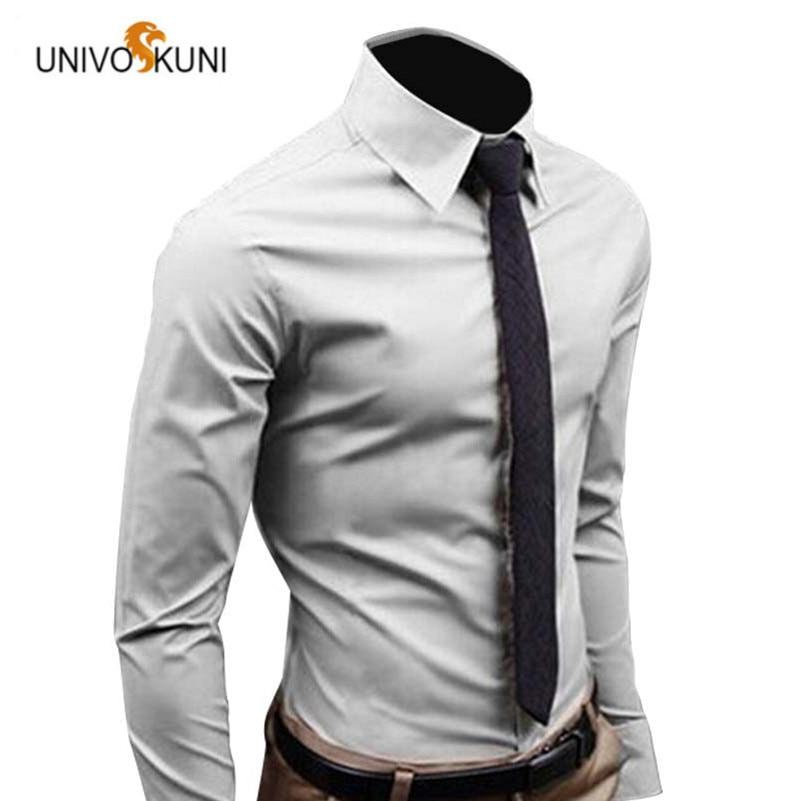 Univos куни Для мужчин рубашка с длинным рукавом Мода Для мужчин S Рубашки домашние муж. хлопок сплошной Цвет Бизнес Slim Fit социальные Camisas Masculina rd464