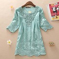 New 2016 summer style half sleeve women dresses vestidos vestido party cotton blouese ladies summer dress clothing casual shirt