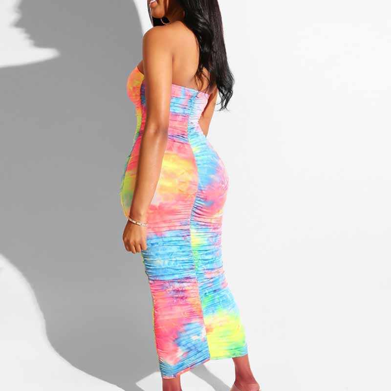 NORMOV נשים סקסי מועדון סתיו שמלת צבעוני קפלים ארוך שרוולים סטרפלס שמלת סקיני Slim הדפסת קרסול-אורך שמלה