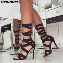 TINGHON Summer Women Classic PU Boots Solid Zip Hollow Out Mid-Calf Round Toe Black Shoes Thin Heels Pumps Size 35-43