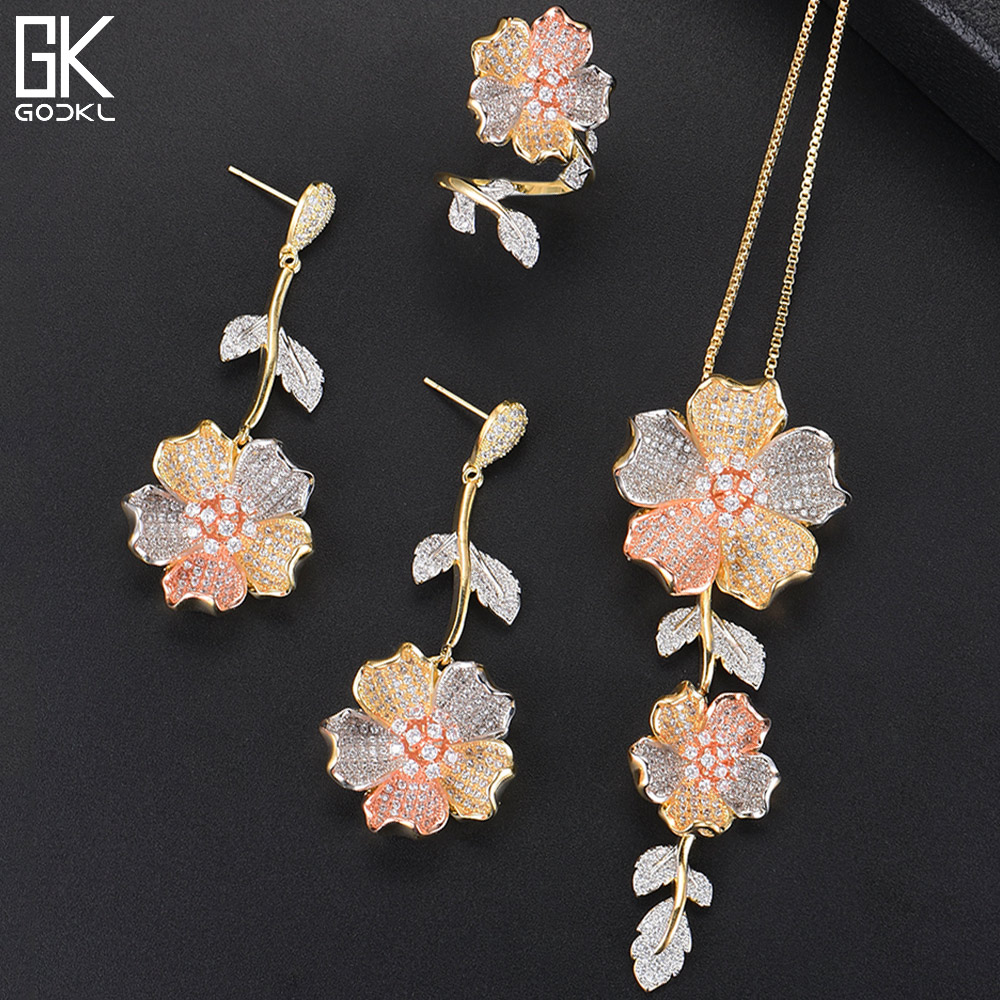 GODKI Luxury Lariat Necklace Earring Sets Cubic Zircon Crystal CZ Jewelry Set For Women Wedding Indian