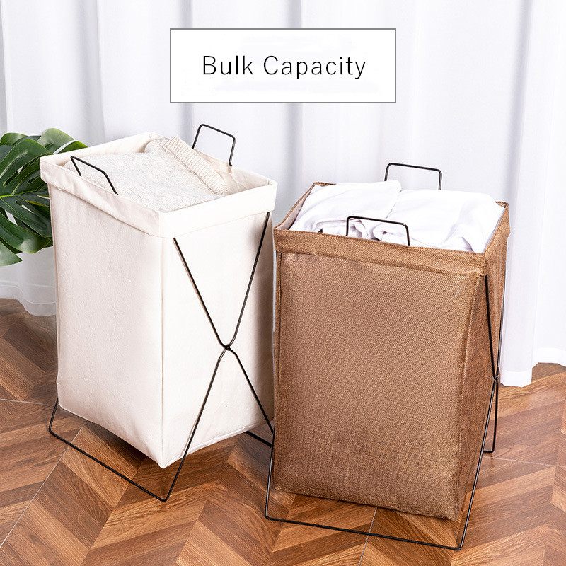 Foldable Laundry Hamper Iron Frame Large Canvas Laundry Organizer Bag With Handles Bathroom Laundry Basket Toy Storage Container