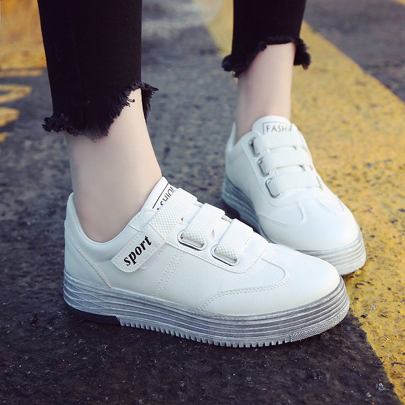 Wipe The Old White Shoe For Women Flat Leather Female Thick Shoes Woman Vogue Skateboard ...