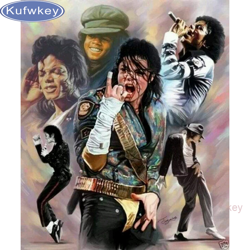 Picture diamond mosaic diy diamond painting cross stitch superstar famous singer Michael ...