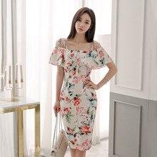 New Summer Print Floral Dress Women Halter Strap Off Shoulder Party Dresses Female High Waist Slim Midi Vestidos
