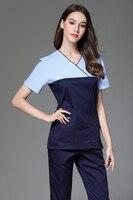 2017 New Fashion Style V-neck Surgical Medical Scrub Sets Short Sleeve Nurse Uniform Doctors Overalls Hospital Workwear Clothing