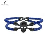 Высокое качество Модные украшения Для мужчин браслет синий ската браслет Для мужчин кожа ската браслет череп браслет для Для мужчин