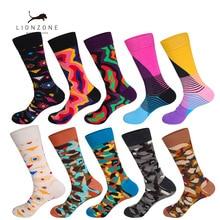 ФОТО lionzone 10pairs/lot funny socks art designer grappige sokken gifts for men muti patterns skate happy socks chaussette homme