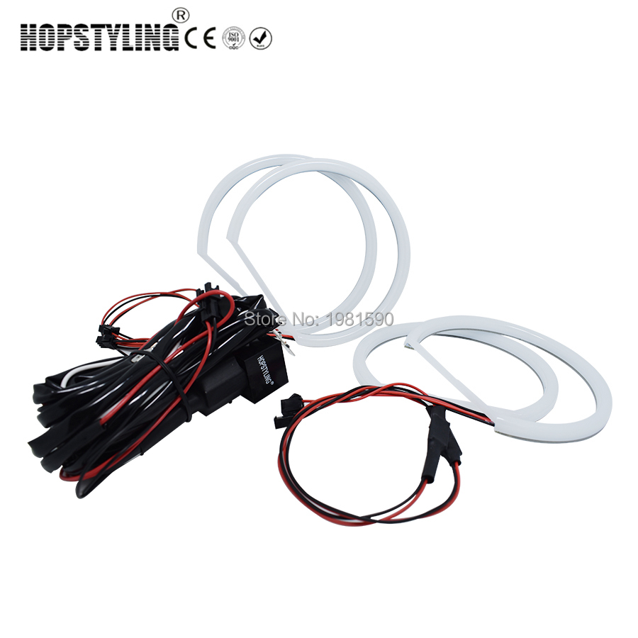 цена на Hopstyling Xenon white E36 E38 E39 E46 projector Cotton light angel eyes No Error for BMW Halo SMD headlight Car-styling