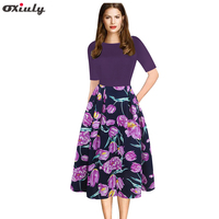 Oxiuly Womens Elegant Purple Floral Print Contrast Patchwork Tunic Vintage Casual Work Party Fit And Flare