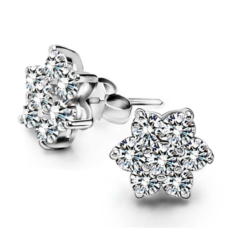 Hot Sell Dazzling 3A Zircon 925 Sterling Silver Flower Stud Earrings Jewelry for Women Brand Bijoux Brincos Retail 2015