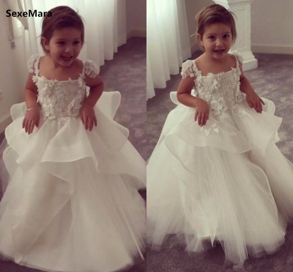 New Ivory White Customized Flower Girl Dress Lace Applique 3D Flowers Wedding Birthday Gown Girls Dresses Any SizeNew Ivory White Customized Flower Girl Dress Lace Applique 3D Flowers Wedding Birthday Gown Girls Dresses Any Size