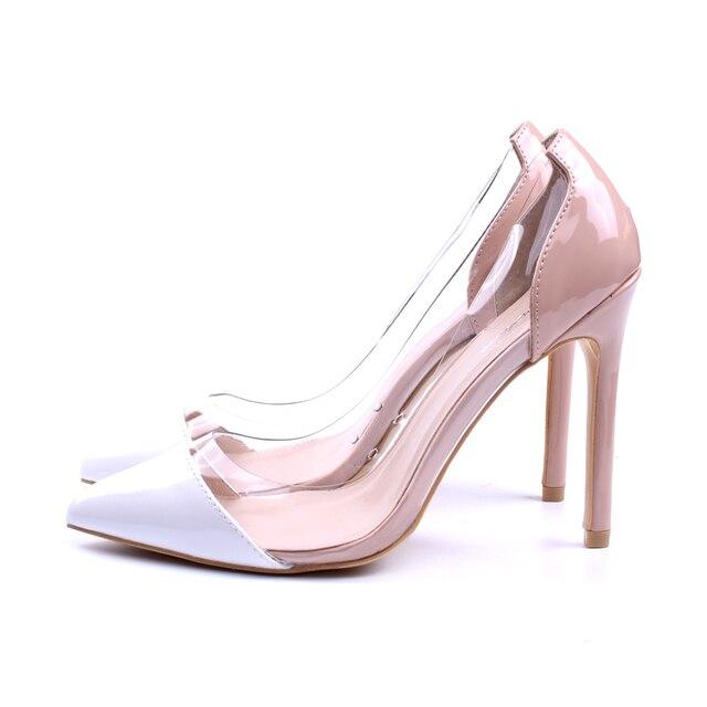 GENSHUO Women Pumps Transparent Thin High Heels 5