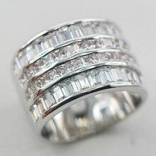Micropave Diamante Simulado Simulado Zafiro Blanco Anillo de Plata 925 Tamaño 6 7 8 9 10 11 A13