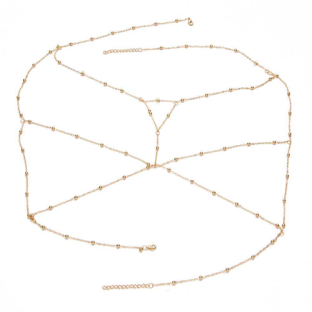 Emas Perak Warna Rantai Tubuh Lintas Manik-manik Perhiasan Wanita Multilayer Kalung Sabuk Sexy Pantai Bikini Bra Harness Belly Chains