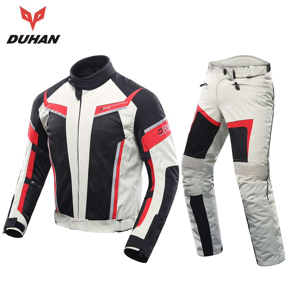 DUHAN Motorcycle Jacket Men Motorcycle Pants Breathable Racing Jacket Breathable Moto Riding Jackets Motorcycle Clothing duhan motorcycle waterproof saddle bags riding travel luggage moto racing tool tail bags black multifunction side bag 1 pair