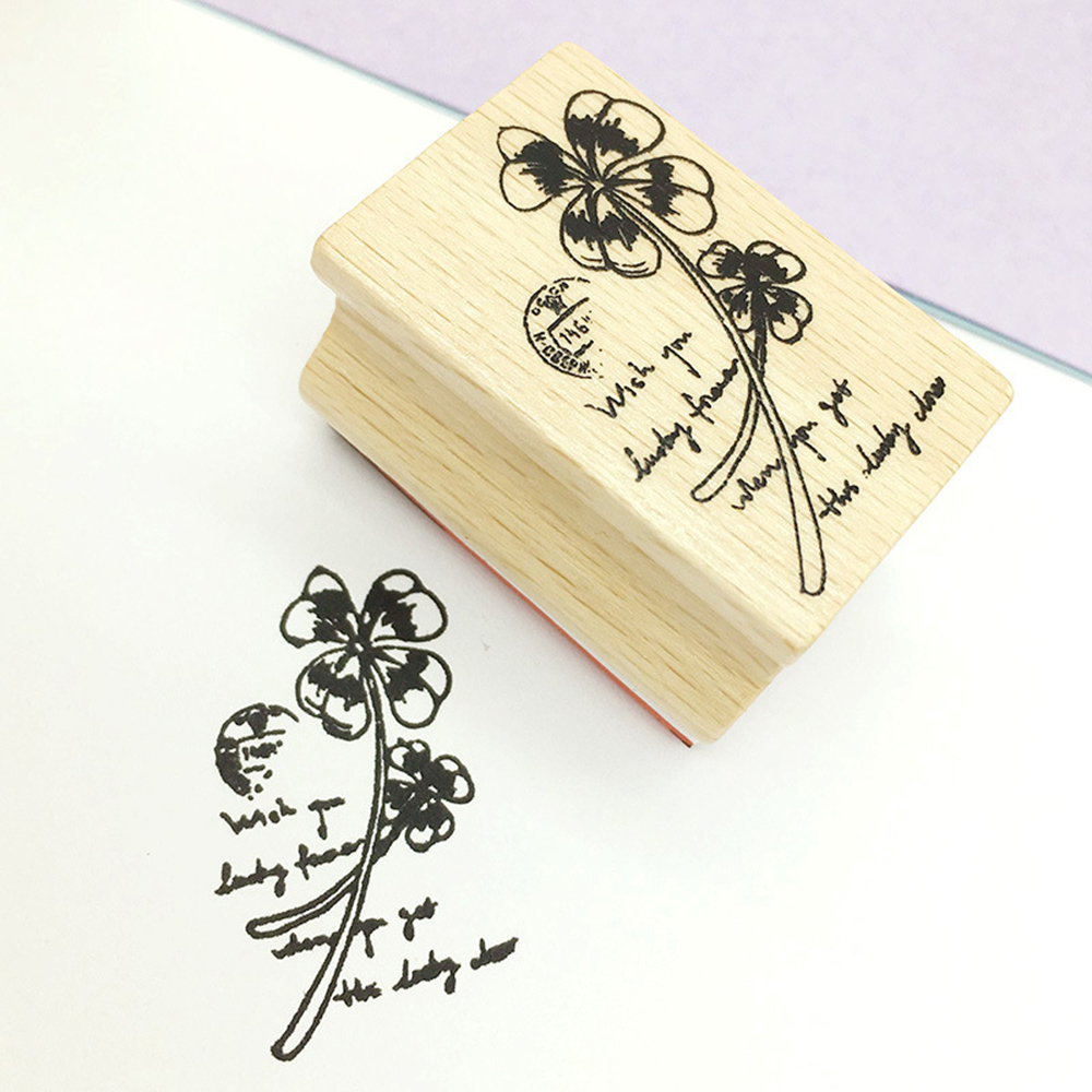 New Clover Plant Flower Stamps for Scrapbook DIY Photo Album Account Wood Clear Stamps for Decoration 5 Styles