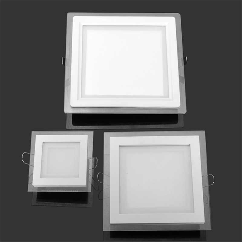 6W 9W 12W 18W 24W LED Panel Downlight Panel Kaca Lampu Langit-langit Tersembunyi Lampu LED Spot Light AC85-265V dengan Adaptor