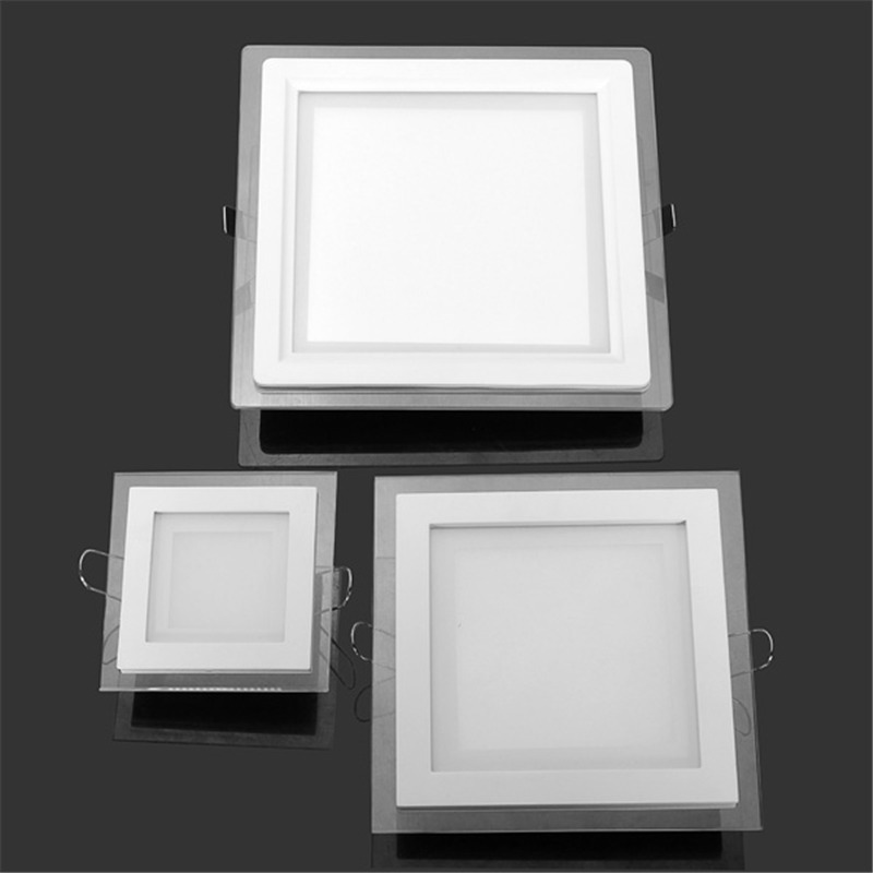 6W 9W 12W 18W 24W LED Panel Downlight Square Glass Panel Lights Ceiling Recessed Lamps LED Spot Light AC85-265V With adapter tsleen ultra thin led panel downlight 3w 4w 6w 9w 12w 15w 18w 24w square ceiling recessed spotlight ac85 265v panel lamp ce rohs