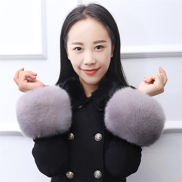 Thicken Women Winter Warm Wrist Arms Gloves Fox Faux Fur Bracelet Cuff Wristband Plush Elastic Oversleeve Arm Warmmer