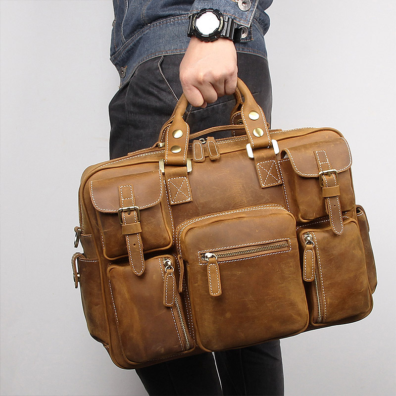 Nesitu Large Big Vintage Brown Thick Genuine Crazy Horse Leather Men Travel Bags Male Briefcase Shoulder
