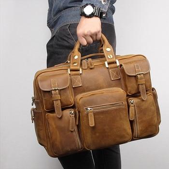 b9a76b99fc9c Nesitu Большой Винтаж коричневый толстый Натуральная Crazy Horse кожа для  мужчин дорожные сумки мужской портфели плеча курьерские M7028
