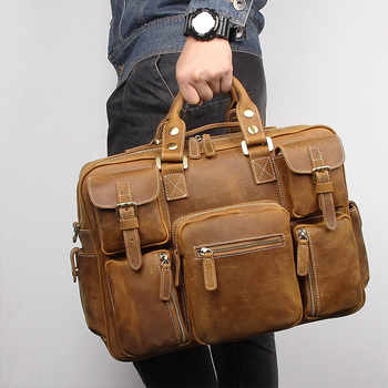 Nesitu Large Big Vintage Brown Thick Genuine Crazy Horse Leather Men Travel Bags Male Briefcase Shoulder Messenger Bags M7028 - DISCOUNT ITEM  51 OFF Luggage & Bags