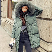 Winter Jacket Women 2018 Large Real Fox Fur Hooded White Duck Down Jacket Thick Solid Warm Loose Female Parkas Women Winter Coat