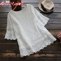 2018 Summer Women Cotton White Blouse Mori Girl Sweet Hollow Out Embroidery Lace O neck Short Sleeve Shirt Tops Blusas Femininas