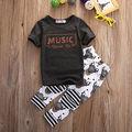 Meninos Roupas de verão 2016 Novo Conjunto de Roupas de Bebê Menino Do Miúdo T Camisa Tops Calças Roupas Outfits Set