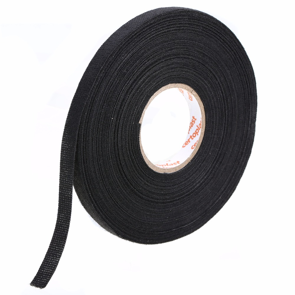 1pc Black Anti Wear Adhesive Cloth Fabric Tape Looms Wiring Harness 25m X 9mm