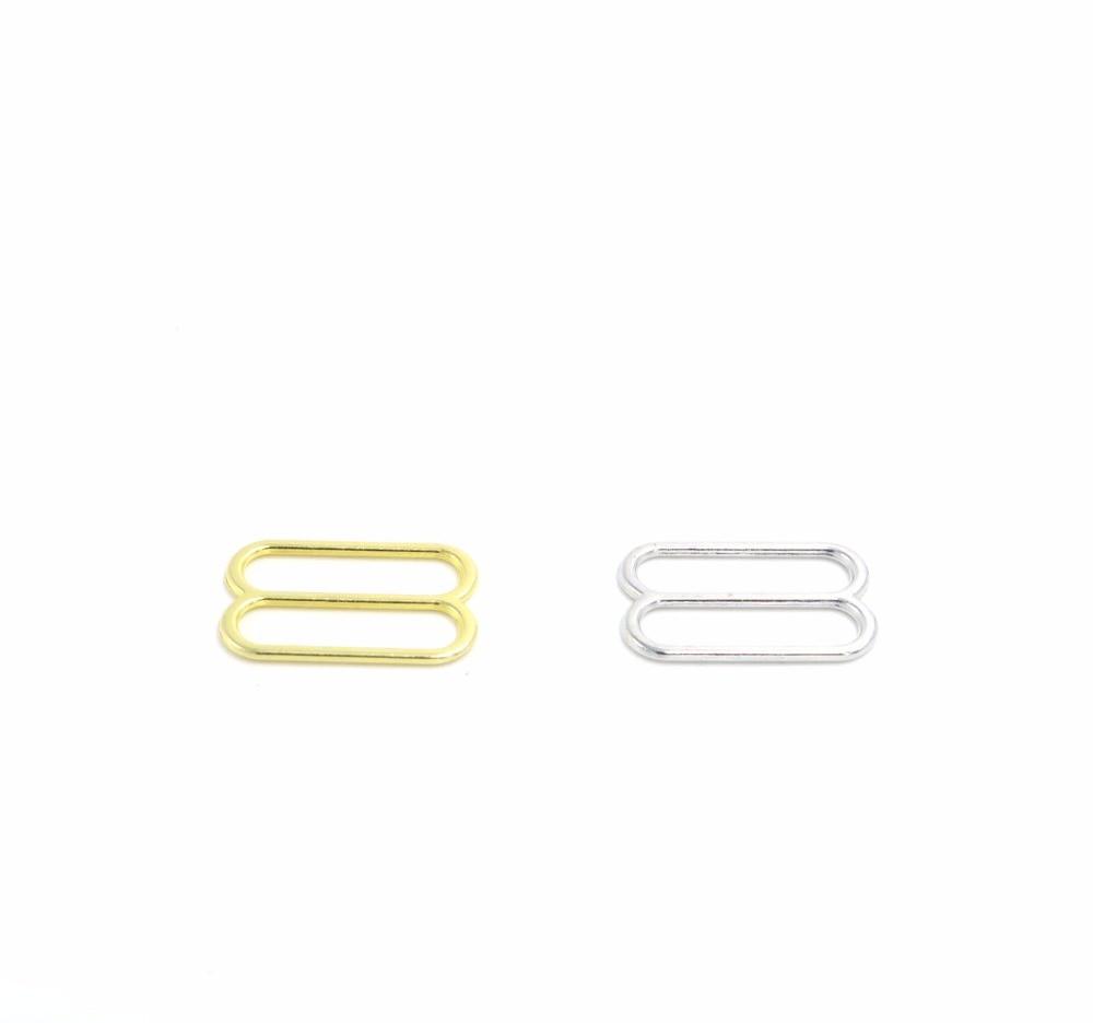 Wholesale 500pcs Size 20mm Golden silver Color High Quality Plated Metal Bra Strap Adjuster Slider