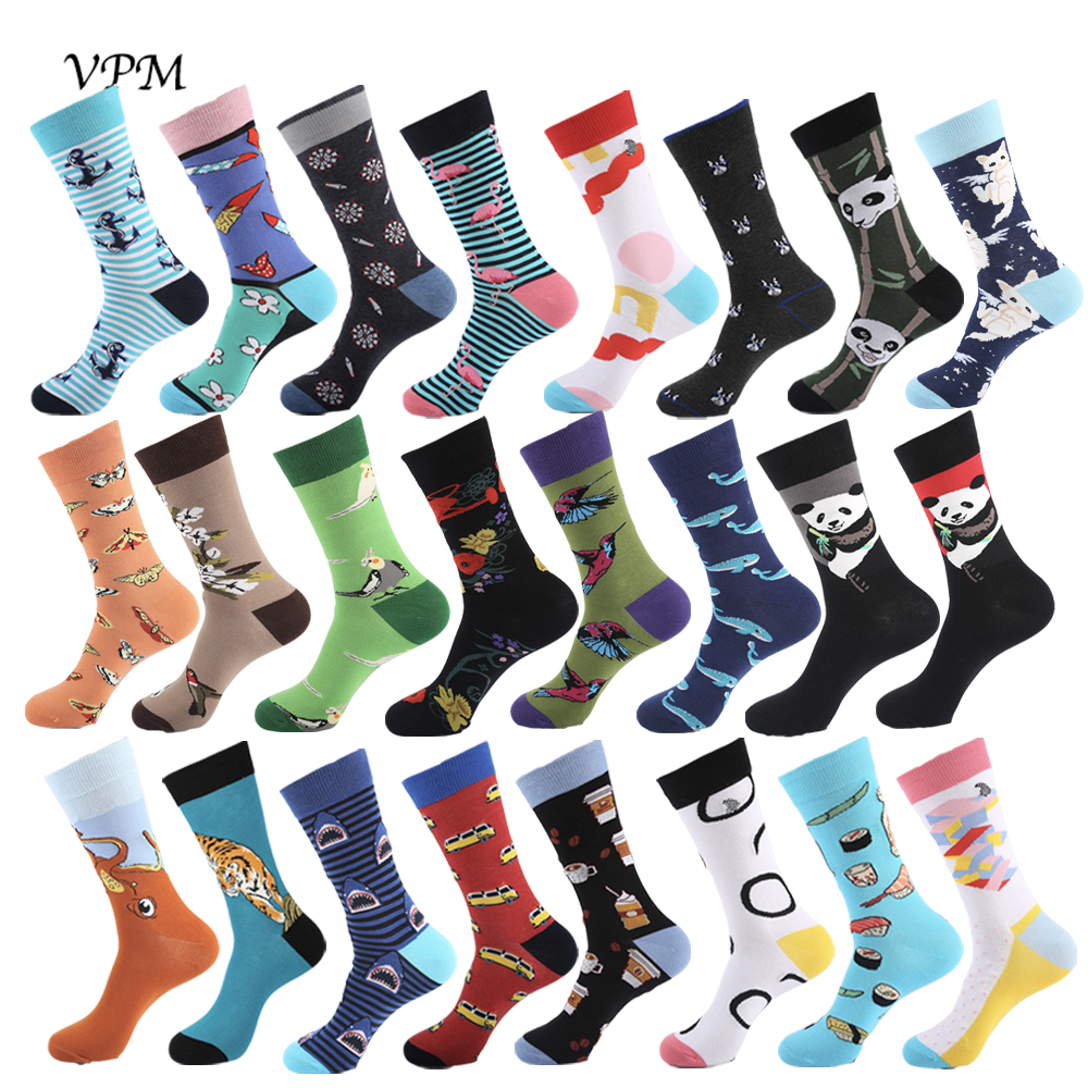 VPM Combed Cotton Big Size Men's Socks Funny Tiger Gecko Tree Rake Octopus Cactus Crocodile Beer Novelty Cool Skate Sock For Men