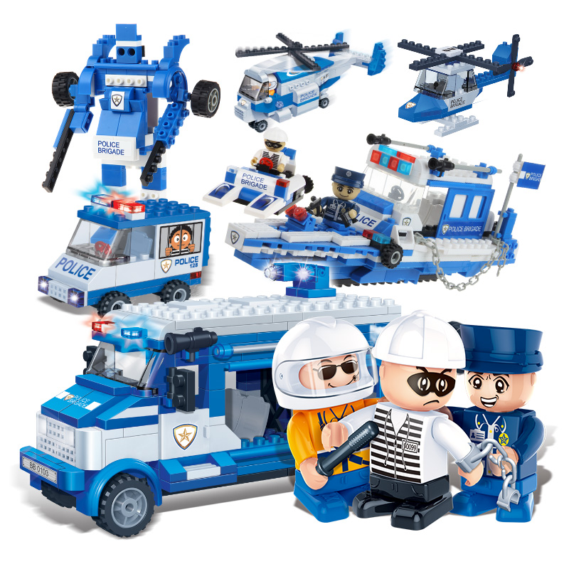Banbao 8357 Car and Helicopter 450 pcs Plastic Building Block Sets Educational DIY Bricks Toys  Christmas gifts banbao 8313 290pcs fire fighting ladder truck building block sets educational diy bricks toys christmas kids gift