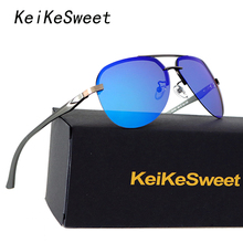 KeiKeSweet Hot Polarized UV400 Rays Men Women Sun Glasses Rimless Brand Designer Aviation Top Driving Male Sunglasses With Case