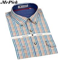 Business Casual Men Dress Shirts Fashion Plaid Long Sleeve Shirts Double Pocket Design 100 Cotton Shirts