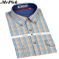 Business Casual Men Dress Shirts Fashion Plaid Long Sleeve Shirts Double Pocket Design 100% Cotton Shirts 38-44 Z1528