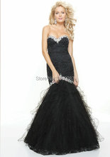 2015 Black Red Hot Mermaid Women Off the Shoulder Prom Gown Sweetheart Beaded Tulle font b