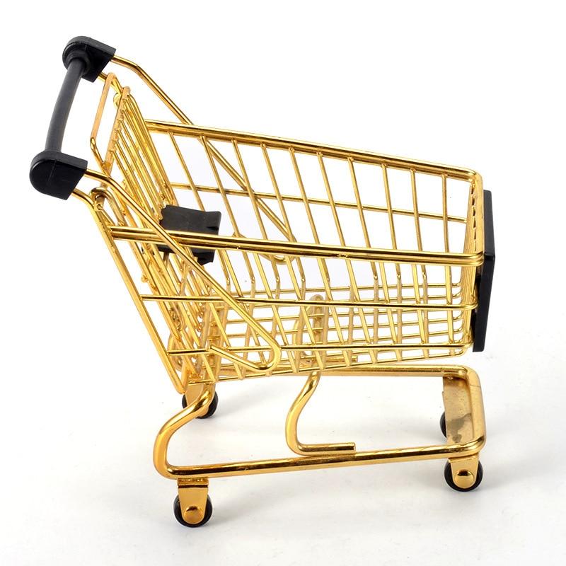 40c118127 Mini Shopping Cart Creative Mini Supermarket Gold Trolley Storage Basket  Iron Metal Trolley Set Basket