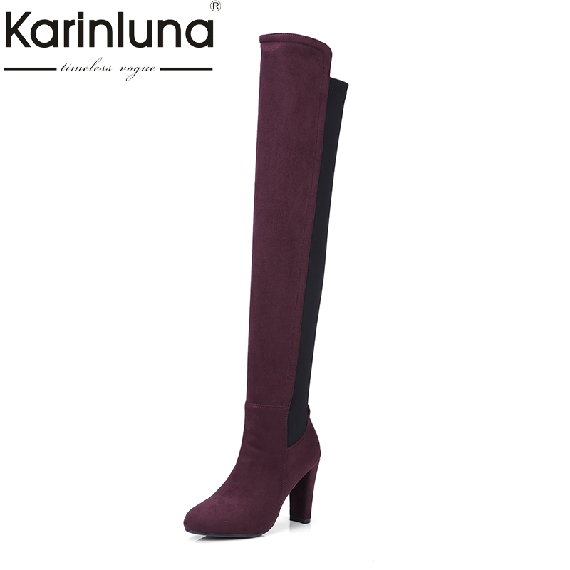 KarinLuna New Arrivals Large Size 34-43 Fashion High Heels Women Shoes Woman Sexy Over The Knee Boots Lady Footwear Elastic стоимость