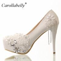 8 cm/12 cm/10 cm/14 cm Branco strass flores do laço nupcial sapatos de salto alto e plataforma com borlas de strass sapatos de casamento