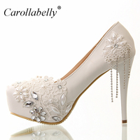 8cm/12cm/10cm/14cm White rhinestone lace flowers bridal shoes high heel and platform with rhinestone tassels wedding shoes