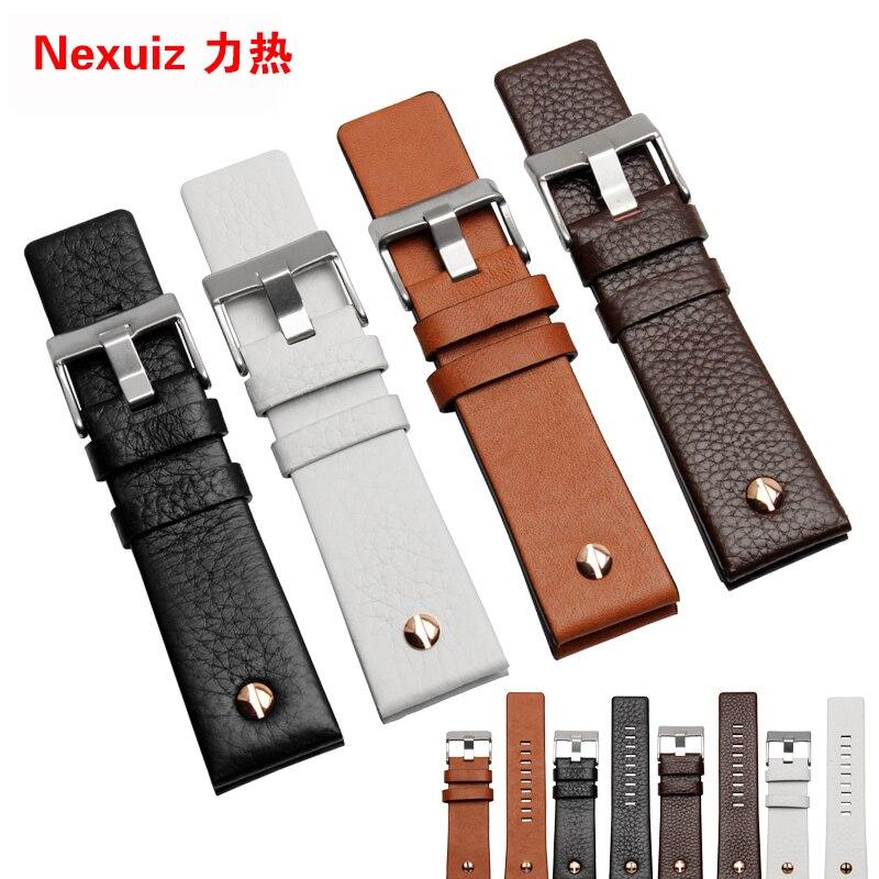 Prix pour 22mm 24mm 26mm 28mm 30mm Mens Watch Band Bracelet En Cuir Noir En Acier Inoxydable Boucle DZ7271 7312 7350