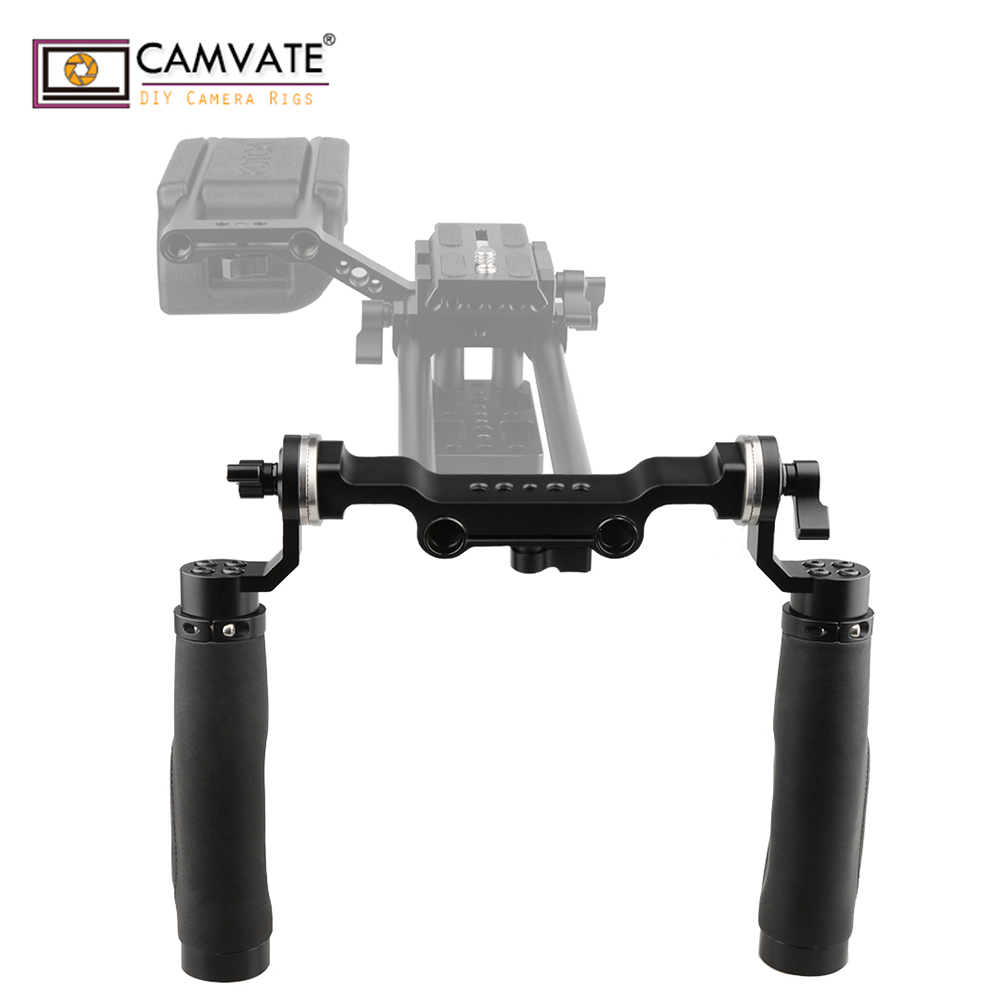 CAMVATE 15mm Rod Black Leather Handle Shoulder Mount Rig with ARRI Rosette for DSLR C1471 camera