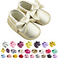 2016 Nuevo Cuero de LA PU Bebé Recién Nacido Prewalker Zapatos antideslizantes Calzado de Suela Blanda Cuna Niño Bebé Mocasines Blandos Moccs Zapatos