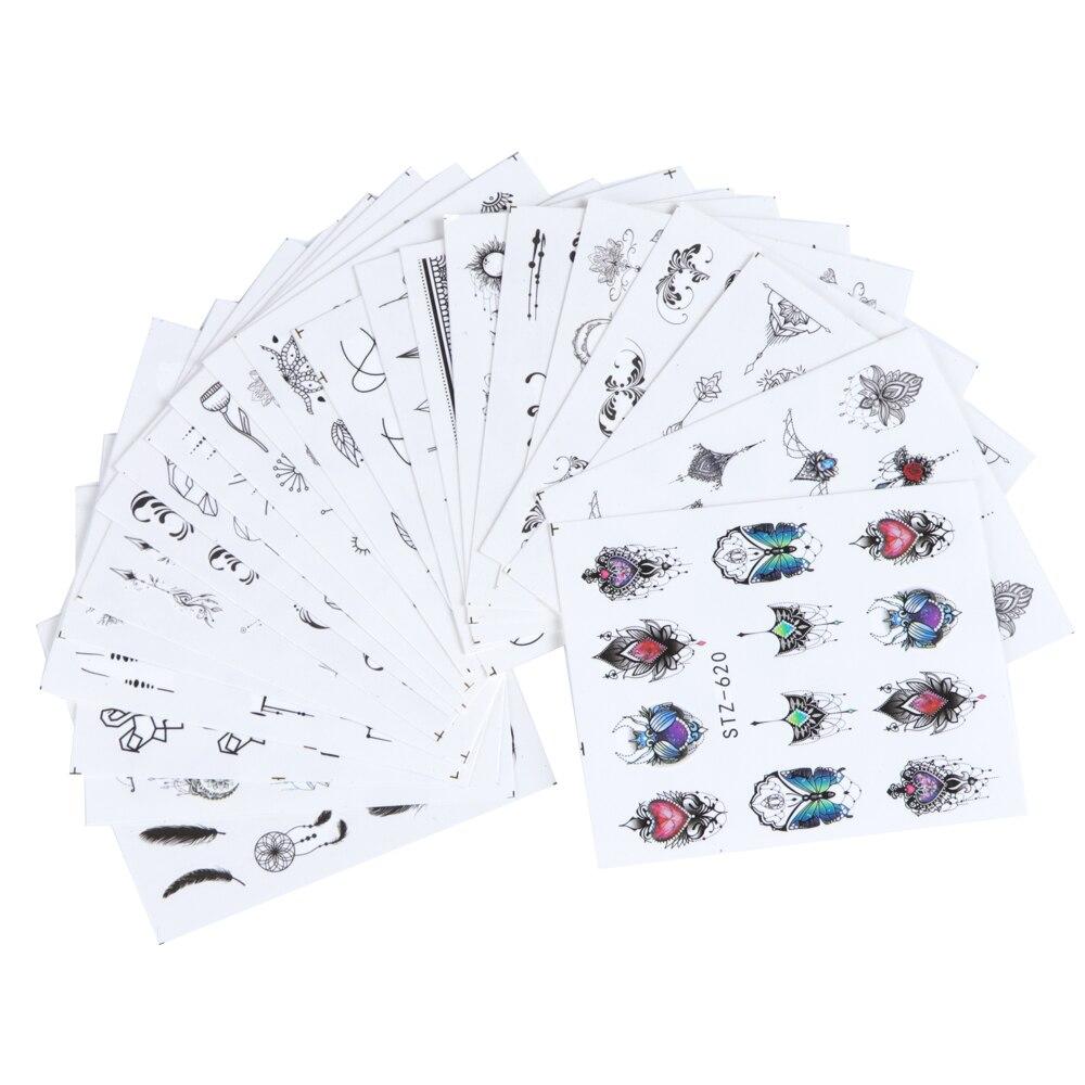 Conjunto 1 Mixed Design New Nail Art Sticker Set Renda Preta Ouro Prata Glitter Flor Decalque Água Deslizante Wraps Decoração manicure CH830 1