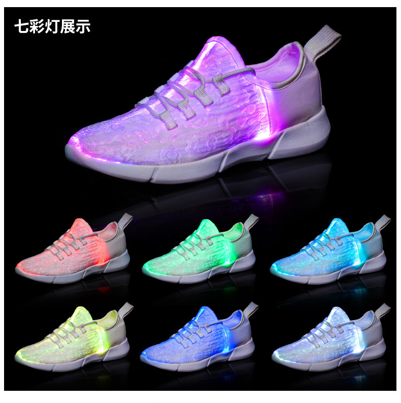 27686fdf4db0 Luminous Fiber Optic Fabric Light Up Shoes LED 11 Colors Flashing ...
