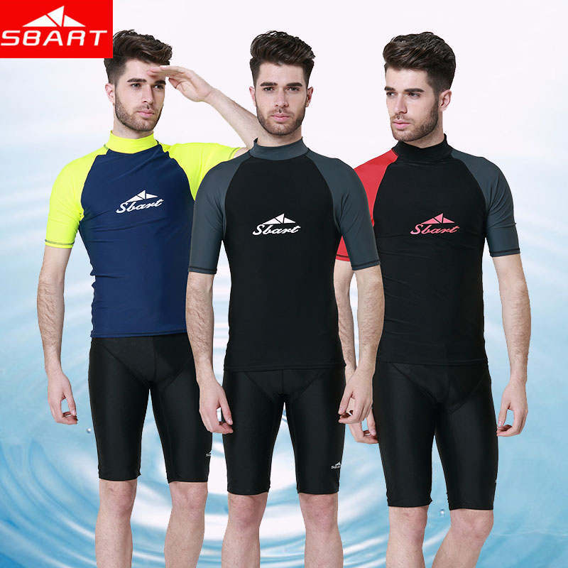 SBART fishing drifting Surf Man Swimming Suit Upft Sunscreen Swim Shirts Diving Men Suit ...